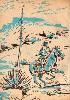 mid-century child cowboy illustration, turquoise, peach, cream colors.  would make a cute theme for a boy's bedroom