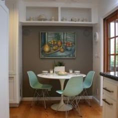 Mint green chairs and what looks like a Cézanne! (Fiorella Design)