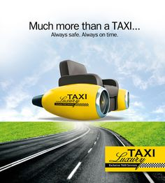 "ThinkBAG designed the Taxi Luxury brand & assigned with the advertising and communication strategy of the company. The created advertising concept was ""Much more than a TAXI. Always safe, Always on Time"" to highlight the benefits of the client. Taxi Advertising, Advertising Slogans, Advertising Design, Always On Time, Creative Posters, Advertising Photography, Luxury Yachts, Uber, Concept Cars"