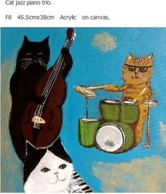 "Jazz Cats Play ""The Blues"" ld Jazz Cat, Cool Cats, Chat Web, Black Cat Art, Cats Musical, Photo Craft, Japanese Artists, Cat Design, Illustrations And Posters"