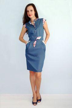 Blue denim dress Short sleeves Flower denim Casual dress