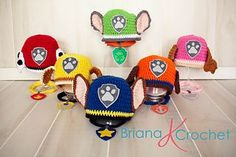 Ravelry: 6 Hat Paw Patrol PATTERN 9 Month- Teen/Small Adult pattern by Briana K Crochet Patterns are now retired. Use for inspiration. Crochet Kids Hats, Crochet For Boys, Crochet Beanie, Crochet Crafts, Yarn Crafts, Crochet Toys, Crochet Projects, Knitted Hats, Knit Crochet
