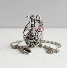 Ornate Silver Tea Pot Pitcher Pendant with Light Rose Swarovski Crystal by belleonabudget, $9.50