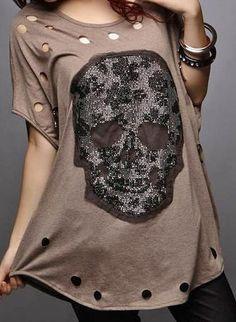 ༻⚜༺ ❤️ ༻⚜༺ COWGIRL GYPSY TOP | Black Lace Skull on Cutout Short Dolman Sleeve~Mocha Brown ༻⚜༺ ❤️ ༻⚜༺