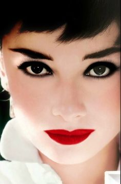 audrey hepburn dark eyes and red lips. Great look