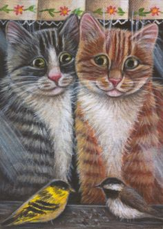 Cats Watching Birds - Painting in Acrylics
