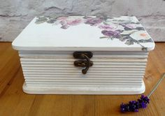 White Floral Jewelry Box Jewellery Box Wooden Box by SCWVintage