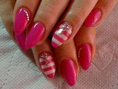 Pink nails with white stripes