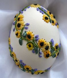 Silk embroidery on real eggs