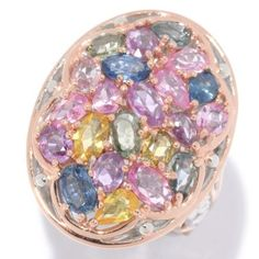Gems en Vogue 3.74ctw Multi Color Pastel Sapphire Cluster Ring