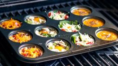 Muffin Pan Eggs on the Grill Recipe Cupcake Pan Recipes, Muffin Tin Recipes, Egg Recipes, Brunch Recipes, Breakfast Recipes, Breakfast Casserole, Breakfast Ideas, Healthy Recipes, Healthy Grilling