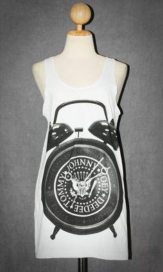 Ramones Logo Alarm Clock White Tank Top Sleeveless Rock Singlet T-Shirt Size S