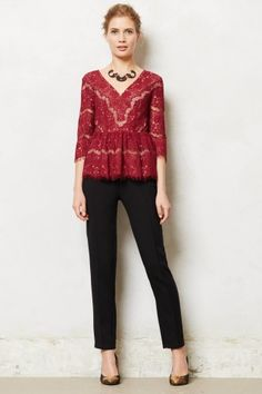 Needlelace Peplum Top