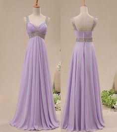 Custom Handmade Sleeveless Lavender Prom Dresses 2015, Long Prom Gown, Bridesmaid Dresses, Formal Dresses