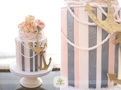 LIKE THE LOOK OF THIS CAKE FOR WAVERLY WITH PINK AND NAVY INSTEAD AND THE WHITE ROPE WOULD BE CUTE IF IT LOOKED LIKE A STRAND OF PEARLS...Nautical themed