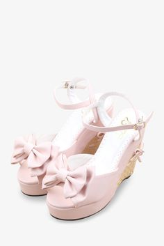 Sweety Bow-Knot Platform Wedge In Pink. Free 3-7 days expedited shipping to U.S. Free first class word wide shipping. Customer service: help@moooh.net