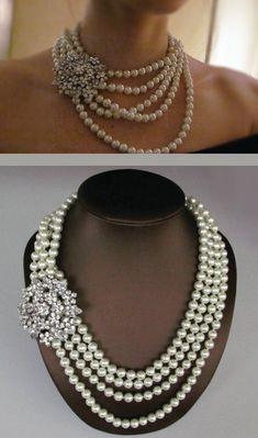 Multi Strand Pearl Necklace - Chunky Bold pearl Necklace - Statement Necklace via Etsy. Statement Necklace Wedding, Bridal Necklace, Wedding Jewelry, Beaded Necklace, Pearl Necklaces, Steampunk Necklace, Bridal Accessories, Jewelry Accessories, Jewelry Design
