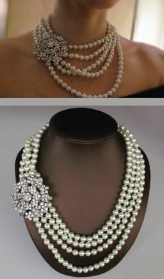 Bridal Necklace, Wedding Jewelry, Multi Strand Pearl Necklace -  Chunky Bold pearl Necklace - Statement Necklace - wedding accessory. $70.00, via Etsy.
