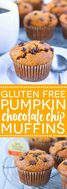 Gluten Free Pumpkin Chocolate Chip Muffins (dairy free) are the perfect fall breakfast. Recipe from @whattheforkblog | whattheforkfoodblog.com | sponsored | pumpkin recipes | gluten free pumpkin recipes | dairy free pumpkin recipes | how to make pumpkin muffins | pumpkin with chocolate | easy pumpkin muffin recipes | bakery style pumpkin muffins | pumpkin spice muffins