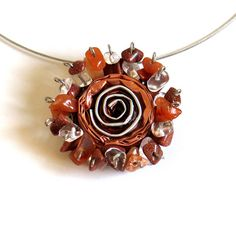 Light Brown Statement Necklace, Rose Flower Pendant Jewerly, Jewellery, Upcycled, Nespresso Capsules, Semiprecious Stones, Boho, OOAK