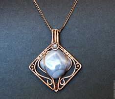 Купить Серый тюльпан - серый, украшения ручной работы, украшение на шею, украшение, украшение с камнем