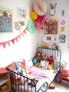 ♥ colorful French girls room. Chambre d'enfant. Bunting. Iron bed. Bunny rabbit mask.