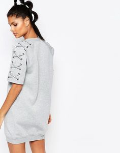 Image 2 of Story Of Lola Oversized Short Sleeve Sweat Dress In Neoprene With Lace Up Detail