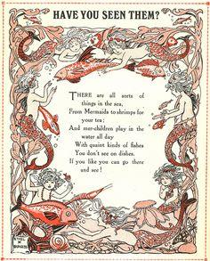 Have you seen a mermaid? Mermaid Poems, Mermaid Art, Mermaid Sayings, Mermaid Images, Mythical Creatures, Sea Creatures, Pomes, Water Nymphs, Vintage Mermaid