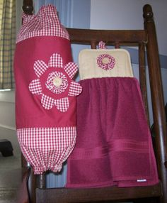 free images to sew bag holders for kitchen | Plastic Bag Holder and Matching Towel Finished project - Submit an ...
