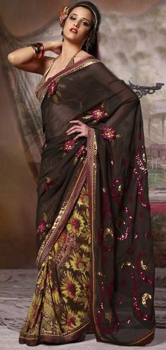 Multicoloured Black Saree