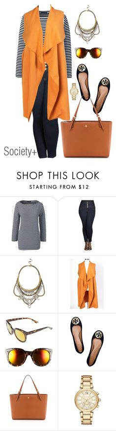 """""""Plus Size Mustard Chicest of Them All Vest - Society+"""" by iamsocietyplus on Polyvore featuring Lands' End, City Chic, BaubleBar, BP., Tory Burch, Michael Kors, plussize, plussizefashion, societyplus and iamsocietyplus"""