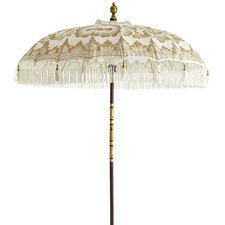 Balinese White Wood Umbrella