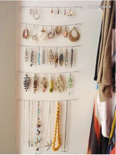 College Dorm organization - use command hooks & picture wire. Can be hung on the wall for extra decoration. Jewelry Rack, Jewellery Storage, Jewellery Display, Hang Jewelry, Hang Necklaces, Jewellery Holder, Earring Storage, Necklace Holder, Jewlery