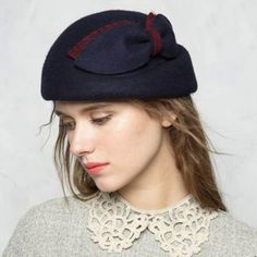 aa2593b70b962 Modified face beret hat for women with bow felt hats wool blend