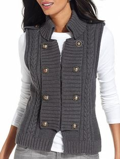 Thick cable knot sweater vest military details from Style #fall #fashion