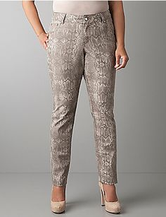 Want to try the season's sexy snake print? We've got it on our best-fitting skinny jeans for an on-trend look that always gets noticed. Rhinestone rivets add extra sparkle. Five-pocket style, and button & zip fly closure.  lanebryant.com