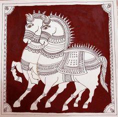 Indian Painting Styles...Kalamkari Paintings (Andhra Pradesh)-kalamkari-horse1-6-.jpg