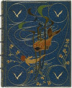 book-aesthete:  The  Water-Babies Charles  Kingsley. London,  1886.    100  illustrations  by  Linley  Sambourne.  Elaborate  blue  morocco  binding  by  Kelliegram  featuring  morocco  inlays  of  a  fish,  a  child  swimming,  and  seagulls,  spine  lettered  gilt,  edges  gilt.    Blue  cloth  folding  case.