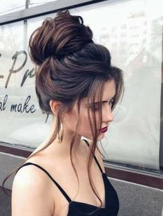 top bun + brunette / #hairstyles #beauty