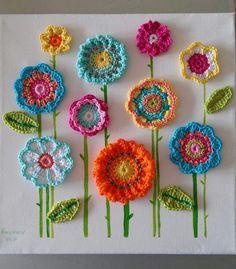 Crochet Motifs, Crochet Flower Patterns, Crochet Designs, Crochet Doilies, Crochet Flowers, Crochet Appliques, Crochet Granny, Knit Crochet, Crochet Wall Art