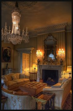 Beautiful mouldings with gilding. nice architrave doors preciously carved, antique mirror & superb chandelier with real candles. this is Regency Style preserved. Dream House Plans, My Dream Home, Beautiful Interiors, Beautiful Homes, Regency House, Design Your Own Home, Interior Decorating, Interior Design, Big Houses