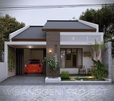 Modern Bungalow House Design, Modern Exterior House Designs, Modern House Facades, House Front Design, Dream House Exterior, Small House Design, Modern House Plans, Minimalis House Design, House Construction Plan