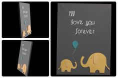 3D Nursery Art - Elephants and Balloon - I'll love you forever