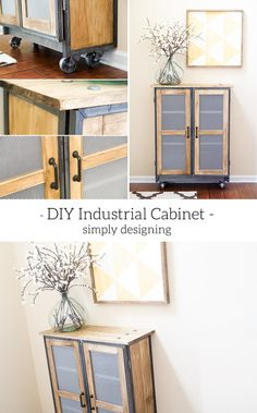 DIY Industrial Cabinet - this is such an amazing DIY - the detail is stunning and the piece is so beautiful - you won't believe it is an IKEA Billy cabinet hack Diy Home Furniture, Do It Yourself Furniture, Repurposed Furniture, Industrial Furniture, Furniture Projects, Furniture Makeover, Home Projects, Cheap Furniture, Industrial Style