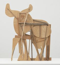"""Bull  Pablo Picasso (Spanish, 1881-1973)    Cannes, c. 1958. Plywood, tree branch, nails, and screws, 46 1/8 x 56 3/4 x 4 1/8"""" (117.2 x 144.1 x 10.5 cm). Gift of Jacqueline Picasso in honor of the Museum's continuous commitment to Pablo Picasso's art. © 2012 Estate of Pablo Picasso / Artists Rights Society (ARS), New York  649.1983"""