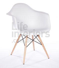 $89 (Sydney)   Replica DAW - Molded Plastic Dining Arm Chair - Wood