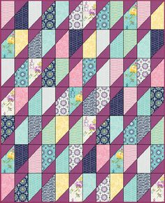 "Here is another easy quilt pattern that uses a Layer Cake and Charm packs to form this diamond at a angle. Finished Size is  54"" x ..."