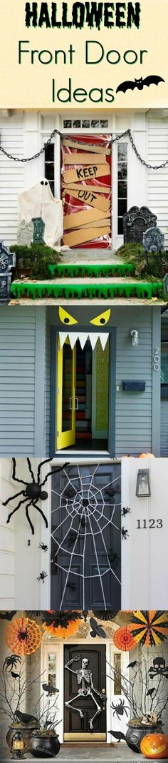 Halloween Front Door Ideas that will transform your porch #halloweendecor #halloweenporch