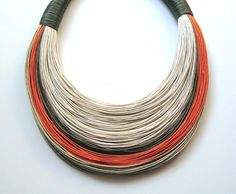 Beige, Olive Green, Orange and Natural Statement Fiber Necklace with Sea Stone Button Clasp on Etsy, $53.00