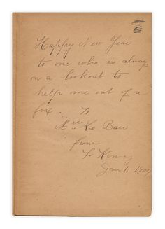 January 1, 1904:  Happy New Year to one who is always on a lookout to help me out of a fix.  To Mrs. Le Barr From L. Kinney